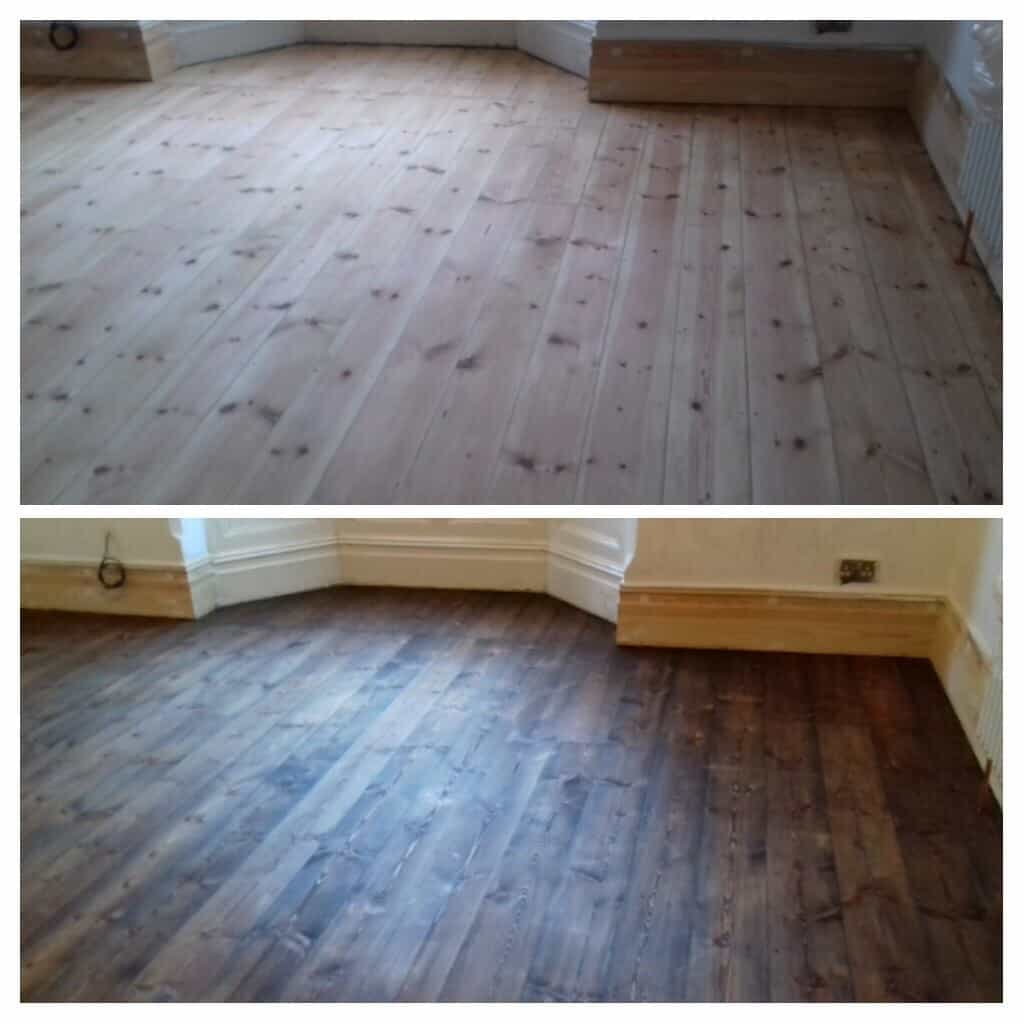 Wood floor restoration services before and after