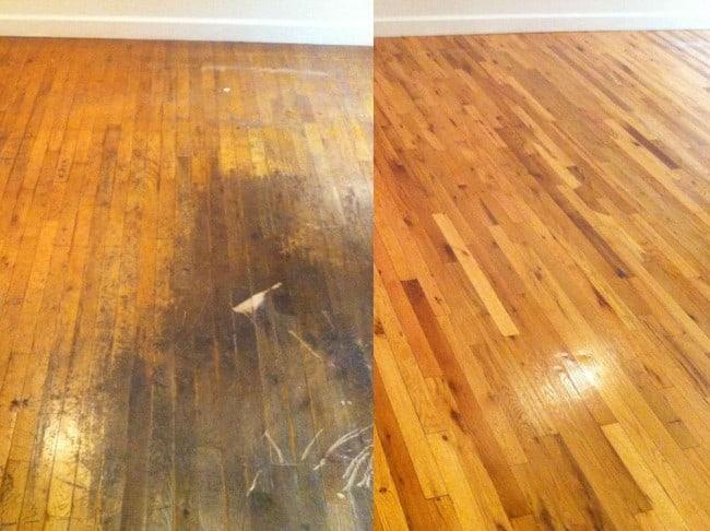Wood floor restoration services before and after restoration